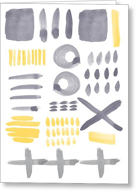 Dots Greeting Cards - Grey and Yellow Shapes- abstract painting Greeting Card by Linda Woods