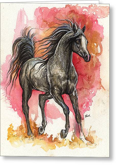 Custom Horse Portrait Greeting Cards - Grey arabian horse 2014 01 12 Greeting Card by Angel  Tarantella