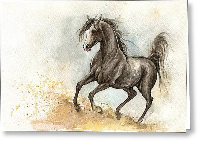 Horse Mixed Media Greeting Cards - Grey arabian horse 2014 02 11 Greeting Card by Angel  Tarantella