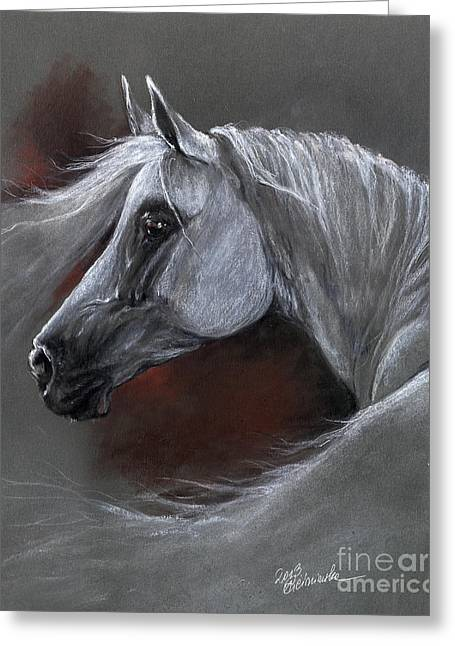 White Horse Pastels Greeting Cards - Grey arabian horse soft pastel drawing 13 04 2013 Greeting Card by Angel  Tarantella