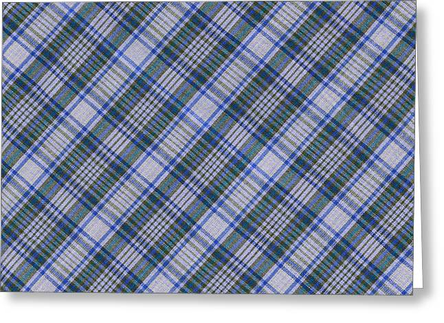 Gingham Greeting Cards - Grey Blue And Green Diagnoal Plaid Fabric Background Greeting Card by Keith Webber Jr