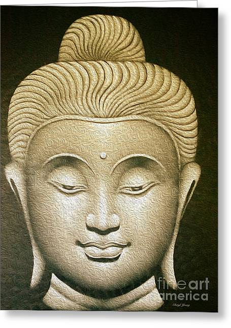 Living Beings Greeting Cards - Grey Buddha Greeting Card by Cheryl Young