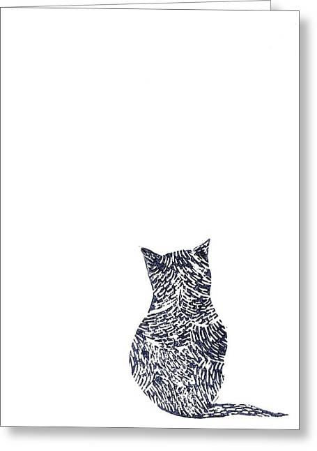 Lino Cut Paintings Greeting Cards - Grey Cat Greeting Card by Sharon Neudeck