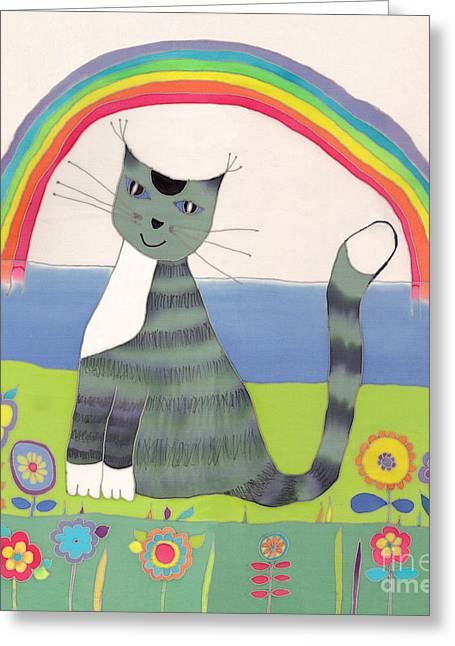 Texture Flower Tapestries - Textiles Greeting Cards - Grey cat under rainbow Greeting Card by Yana Vergasova