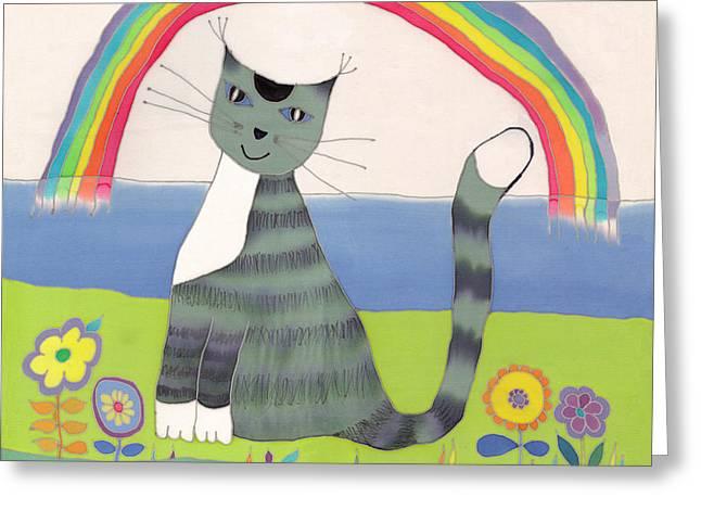 Grey cat under rainbow Greeting Card by Yana Vergasova