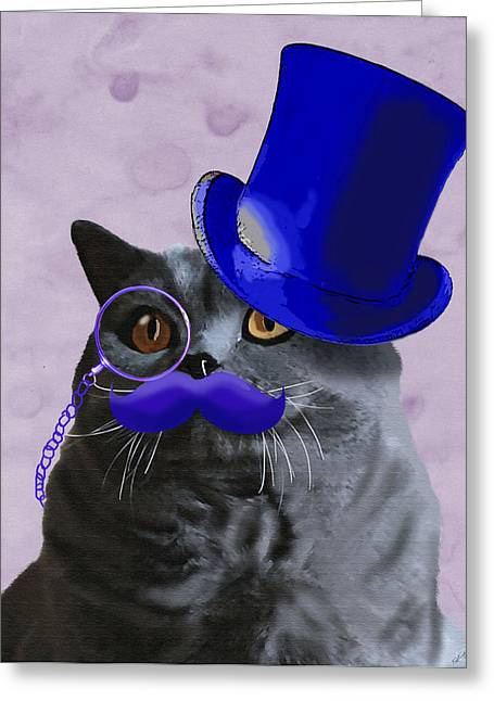 Tophat Greeting Cards - Grey cat with Blue Moustache and Tophat Greeting Card by Kelly McLaughlan
