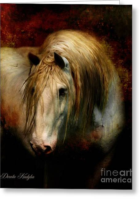 Gray Horse Greeting Cards - Grey Dignity Greeting Card by Dorota Kudyba