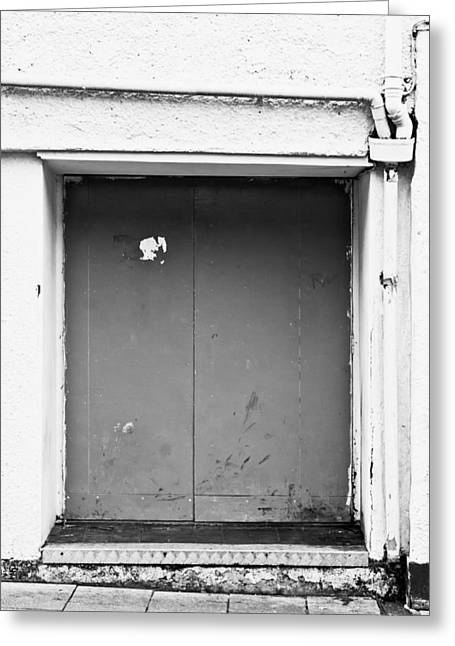 Backstreets Greeting Cards - Grey door Greeting Card by Tom Gowanlock