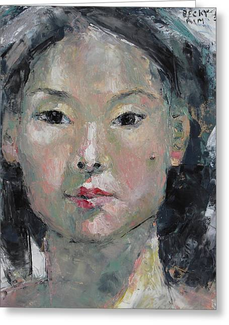 Becky Greeting Cards - Grey Hair - Self Portrait under the ceiling light Greeting Card by Becky Kim