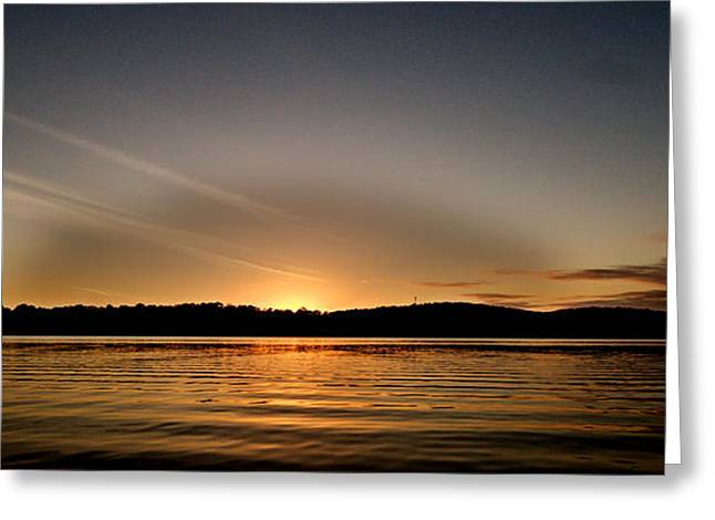 Reflections Of Sky In Water Greeting Cards - Grey Heaven - Sunrise Panorama Greeting Card by Geoff Childs