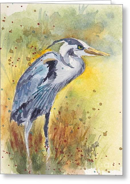 Whidbey Island Wa Greeting Cards - Grey Heron Langley Wa Greeting Card by Judi Nyerges