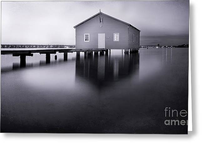 Crawley Greeting Cards - Grey Morning at the Boat Shed Greeting Card by Kym Clarke