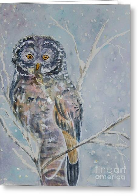 Wintry Mixed Media Greeting Cards - Great Gray Owl On A Snowy Day Greeting Card by Ellen Levinson
