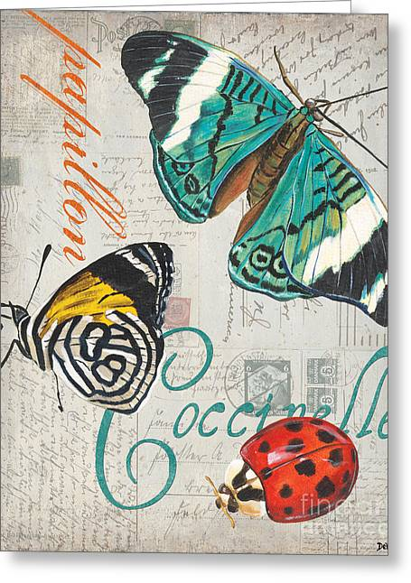 Old Postcards Greeting Cards - Grey Postcard Butterflies 2 Greeting Card by Debbie DeWitt