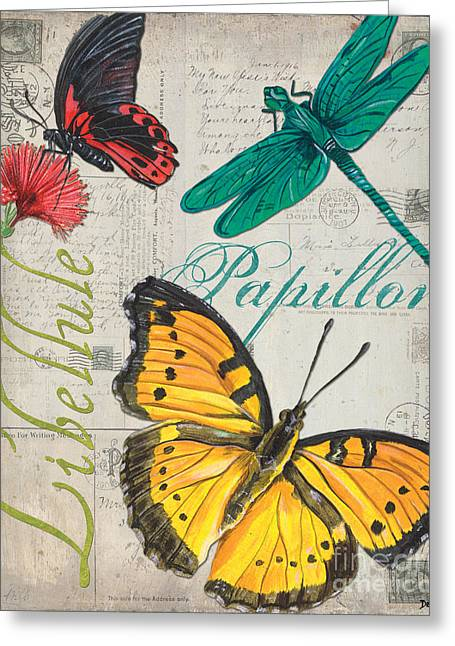 Old Postcards Greeting Cards - Grey Postcard Butterflies 3 Greeting Card by Debbie DeWitt