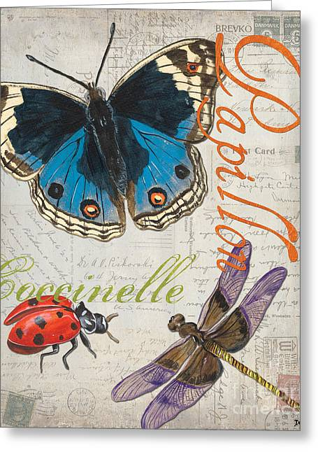 Old Postcards Greeting Cards - Grey Postcard Butterflies 4 Greeting Card by Debbie DeWitt