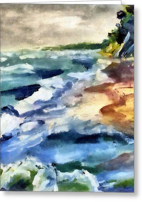 Beach Scenery Greeting Cards - Grey Sky Day on the Lake Greeting Card by Michelle Calkins