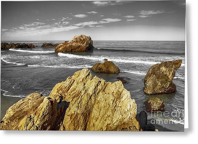 Big Sur Greeting Cards - Grey sky ocean Greeting Card by David Millenheft