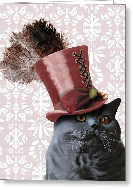 Cat Prints Greeting Cards - Grey Steampunk Cat With Top Hat Greeting Card by Kelly McLaughlan