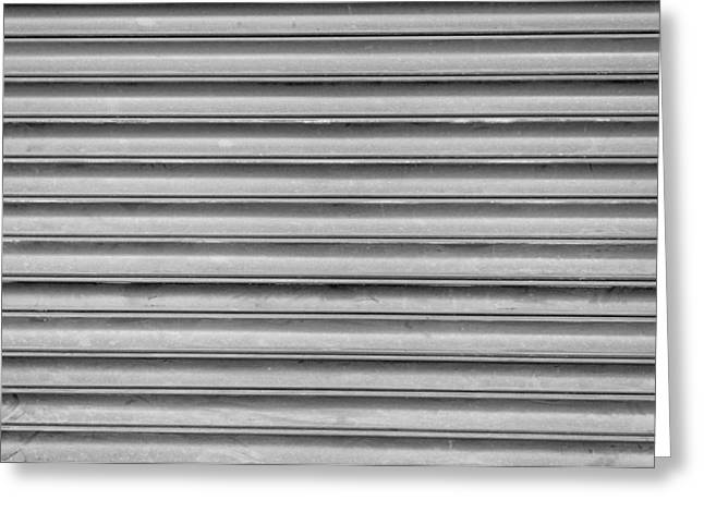Metallic Sheets Greeting Cards - Grey Steel Shutters Greeting Card by Chay Bewley