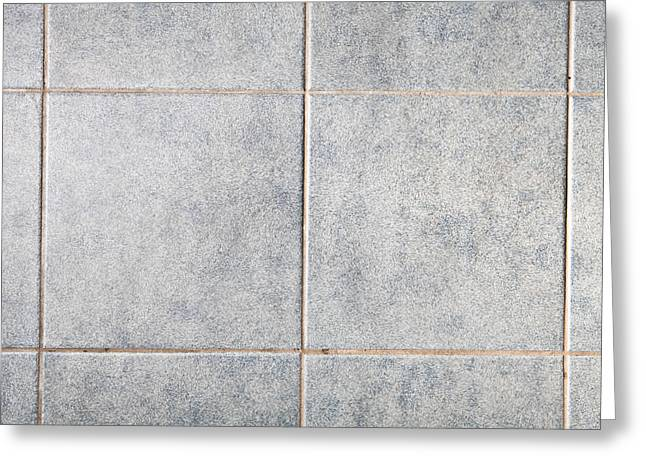 Grey Background Greeting Cards - Grey tiles Greeting Card by Tom Gowanlock