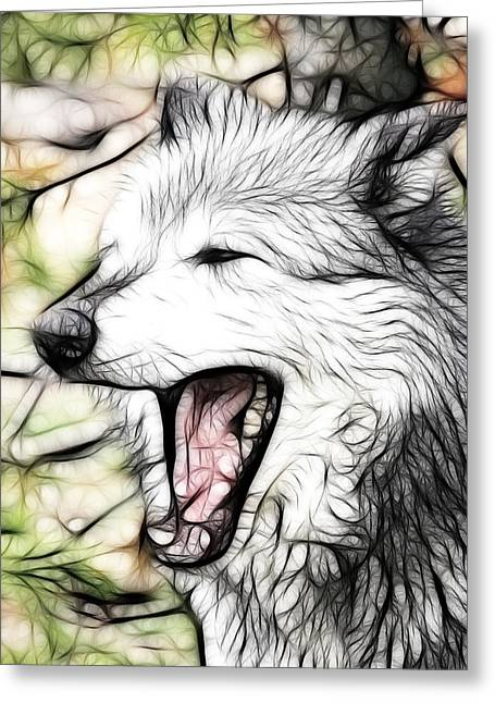 Preditor Greeting Cards - Grey Wolf Art Greeting Card by Steve McKinzie