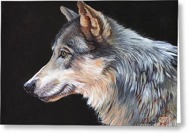 Grey Wolf Greeting Card by J W Baker