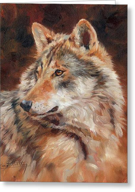 Grey Wolf Portrait Greeting Card by David Stribbling