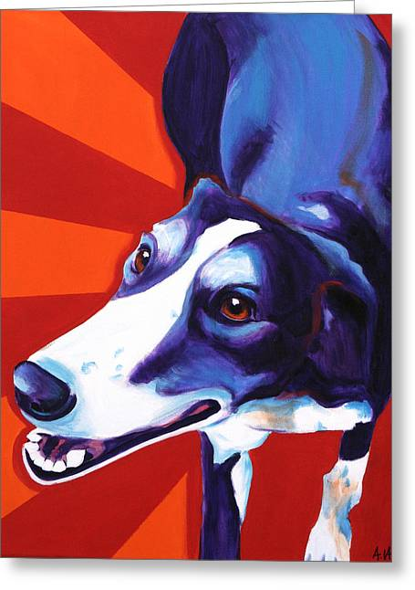 Rescued Greyhound Greeting Cards - Greyhound - Evie Greeting Card by Alicia VanNoy Call