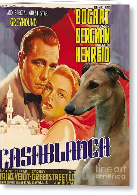 Greyhound Dog Greeting Cards - Greyhound Art - Casablanca Movie Poster Greeting Card by Sandra Sij