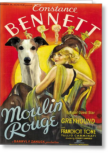 Greyhound Dog Greeting Cards - Greyhound Art - Moulin Rouge Movie Poster Greeting Card by Sandra Sij