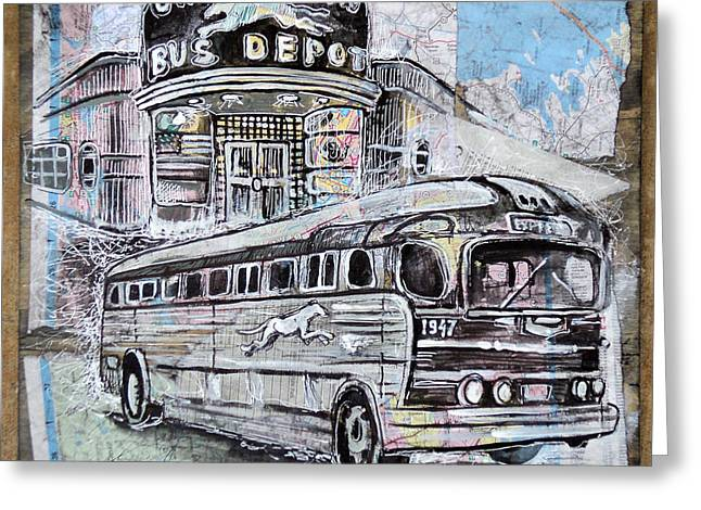 Old Bus Stations Drawings Greeting Cards - Greyhound bus Greeting Card by Alexa Nelipa