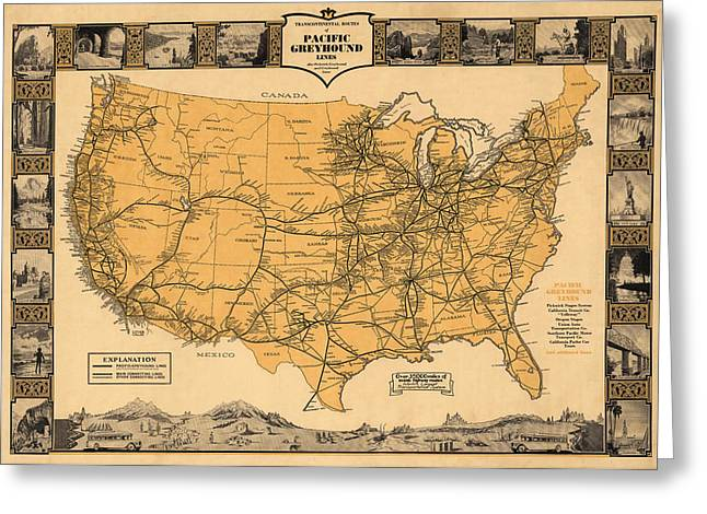 Greyhound Photographs Greeting Cards - Greyhound Bus Line Map 1935 Greeting Card by Andrew Fare