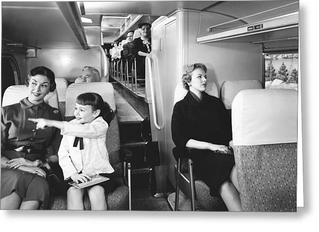 Family With One Child Greeting Cards - Greyhound Bus Passengers Greeting Card by Underwood Archives