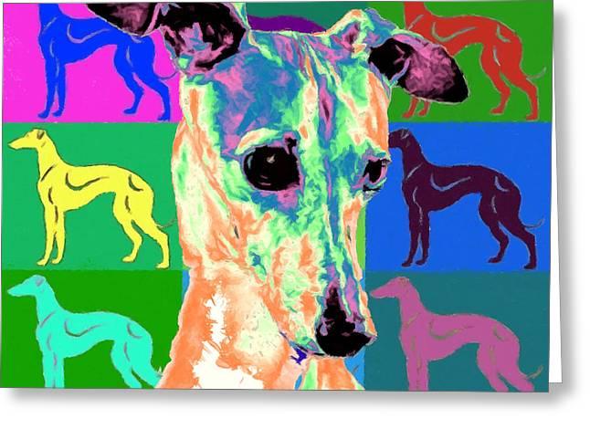 Greyhound Dog Greeting Cards - Greyhound Greeting Card by Char Swift