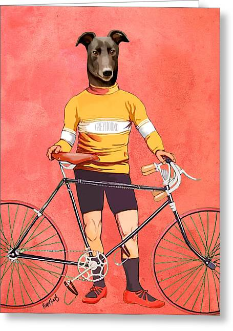 Greyhound Greeting Cards Greeting Cards - Greyhound Cyclist Greeting Card by Kelly McLaughlan