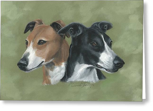 Greyhound Dog Greeting Cards - Greyhound Greeting Card by Daniele Trottier