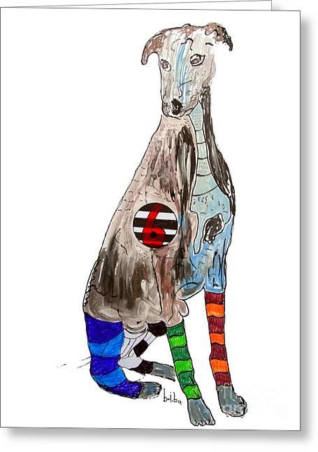 Greyhound Dog Paintings Greeting Cards - Greyhound Days 6 Greeting Card by Bri Buckley