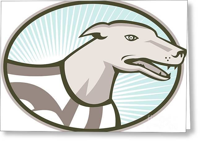 Greyhound Dog Greeting Cards - Greyhound Dog Head Retro Greeting Card by Aloysius Patrimonio