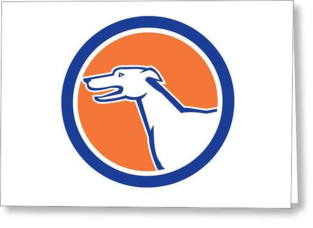 Greyhound Dog Greeting Cards - Greyhound Dog Head Side Retro Circle Greeting Card by Aloysius Patrimonio