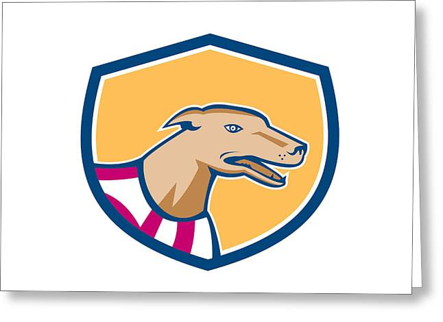 Greyhound Dog Head Side Shield Retro Greeting Card by Aloysius Patrimonio