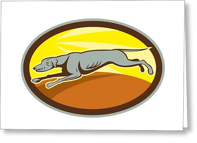 Greyhound Dog Greeting Cards - Greyhound Dog Jumping Side Oval Cartoon Greeting Card by Aloysius Patrimonio