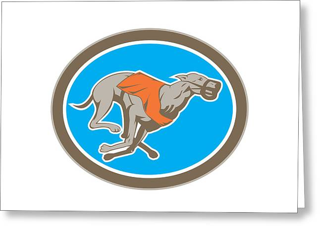 Greyhound Dog Digital Greeting Cards - Greyhound Dog Racing Circle Retro Greeting Card by Aloysius Patrimonio