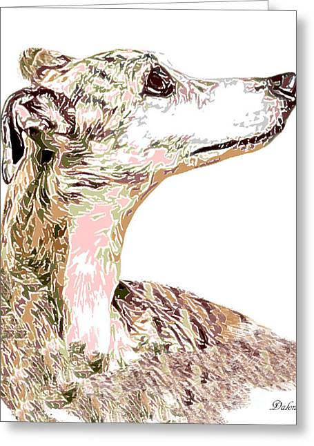 Greyhound Earnest Greeting Card by Dalon Ryan
