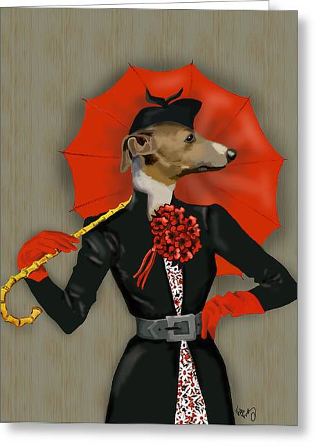 Greyhound Elegant Red Umbrella Greeting Card by Kelly McLaughlan