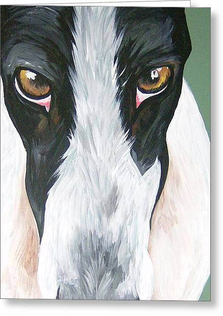 Rescued Greyhound Greeting Cards - Greyhound Eyes Greeting Card by Leslie Manley
