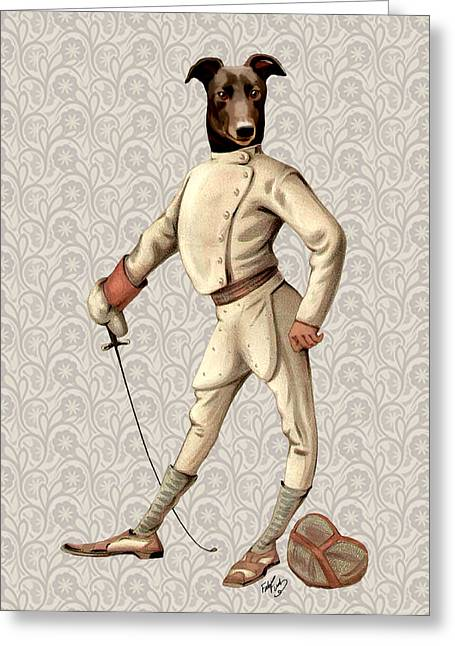 Canine Framed Prints Greeting Cards - GreyHound Fencer full White Greeting Card by Kelly McLaughlan