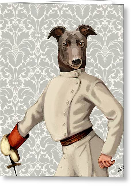 Canine Framed Prints Greeting Cards - GreyHound Fencer White Portrait Greeting Card by Kelly McLaughlan