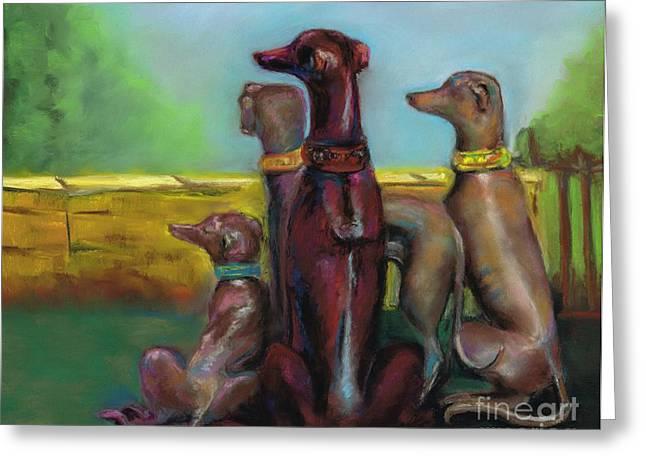 Greyhound Dog Greeting Cards - Greyhound Figurines Greeting Card by Frances Marino