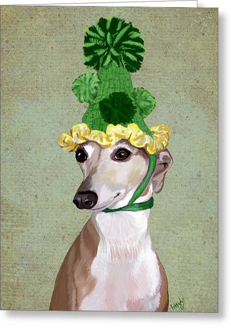 Canine Posters Greeting Cards - Greyhound Green Bobble Hat Greeting Card by Kelly McLaughlan